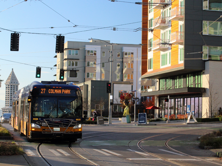 Bus at Yesler and Broadway
